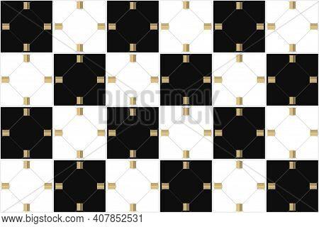 3d Rendering. Seamless Modern Luxury Alternate White And Black Grid Square Art Pattern Wall Backgrou