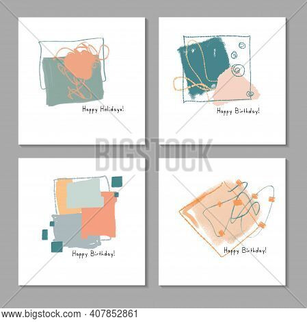 Set Of Creative Abstract Illustrations For Postcard, Social Media Banner Or Brochure Cover Design Ba