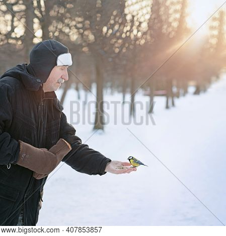 An Elderly Man Feeds A Titmouse In The Park, A Titmouse Flew In And Sat On His Grandfather's Hand, P