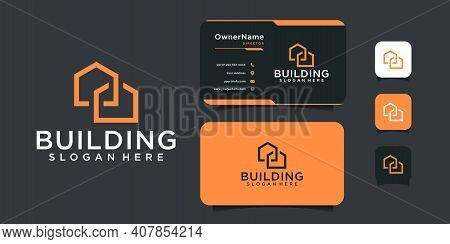 Monogram Architecture Real Estate Building Logo Design With Business Card. Logo Can Be Used For Bran