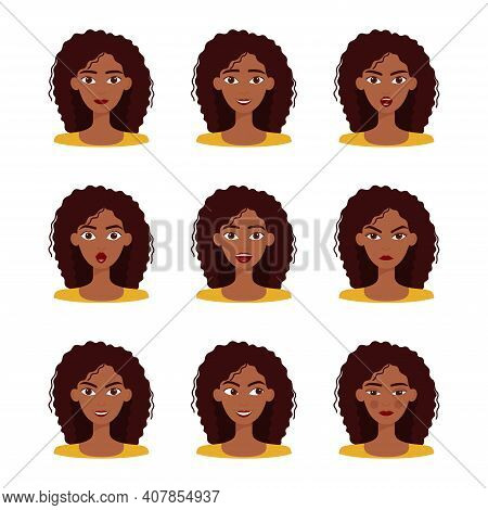 Set Of Emotions Of Beautiful Dark Skinned Girl With Dark Hair. Set Of Different Female Emotions, Vec