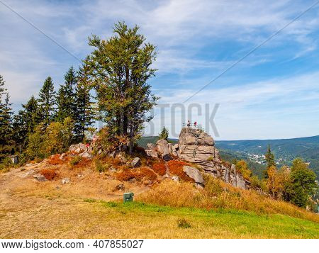 Granite Rock Formation With Lookout Platform On The Top. Tanvaldsky , Jizera Mountains, Czech Republ
