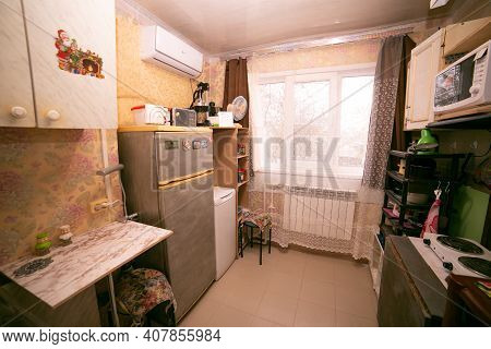 Old Dirty Kitchen In The Apartment. Russia.