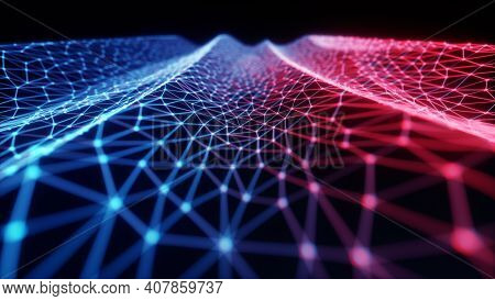 Abstract Background. Colorful Mesh Interconnected Lines. Cloud Computing Concept. 3d Illustration.