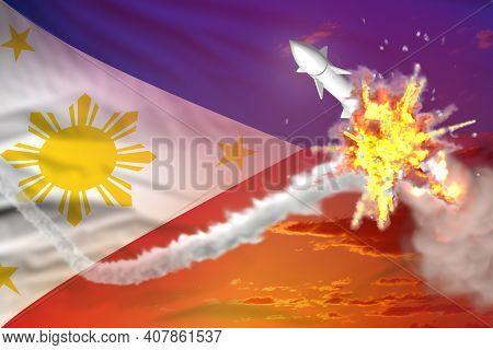 Philippines Intercepted Ballistic Warhead, Modern Antirocket Destroys Enemy Missile Concept, Militar