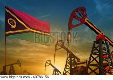 Vanuatu Oil Industry Concept, Industrial Illustration. Fluttering Vanuatu Flag And Oil Wells On The