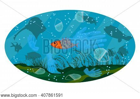 Face Masks And Latex Gloves In Water. Sea Fish Swims In Ocean With Garbage. Coronavirus Plastic Wast