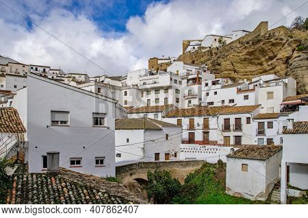 Traditional White Village In Inland Of Spain. It's Called Pueblos Blancos In Spanish. White Houses O