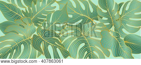 Floral Leaves Seamless Pattern. Foliage Garden Background. Floral Ornamenal Tropical Nature Summer P
