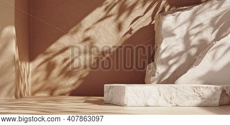 White Pieces Of Stone Slabs Forming A Product Podium For Product Display. Mock-up For Exhibitions Or