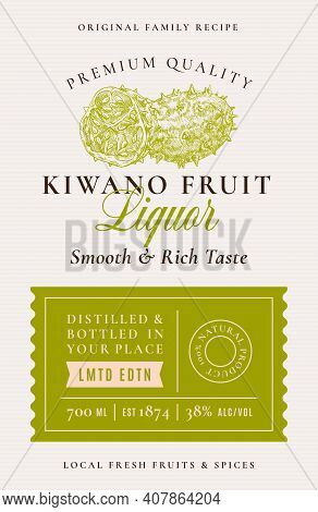 Family Recipe Kiwano Liquor Acohol Label. Abstract Vector Packaging Design Layout. Modern Typography