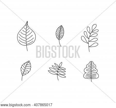 Set Of Spring Leaf Outline Vector Line Icons. Doodle Spring Concept Minimal Style Illustration For K