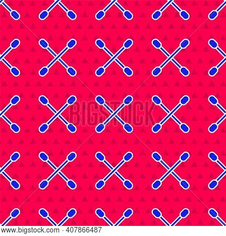Blue Cotton Swab For Ears Icon Isolated Seamless Pattern On Red Background. Vector Illustration