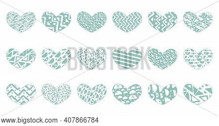 Set Of Green Eighteen Hearts With Different Patterns. Objects Can Be Used For Stickers, Patterned Ta
