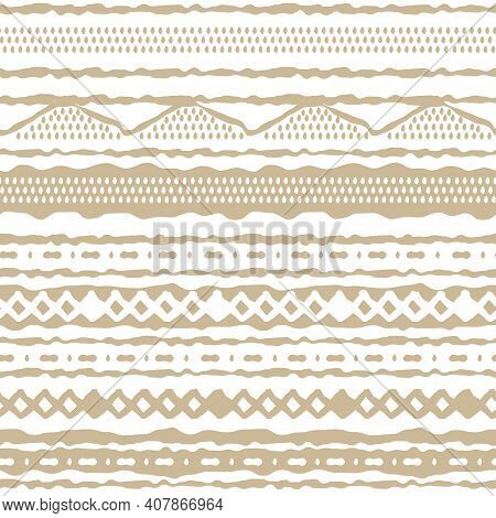 Winter Seamless Abstract Horizontal Repeat Border Pattern. Random Rough, Twisted Part Of Beige Trian