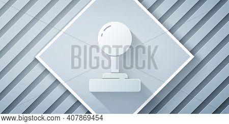 Paper Cut Joystick For Arcade Machine Icon Isolated On Grey Background. Joystick Gamepad. Paper Art