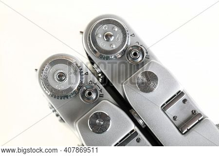 Moscow, Russia, February 12, 2021. The Very Rare Old Soviet 35 Mm Film Rangefinder Cameras Fed-3, Re