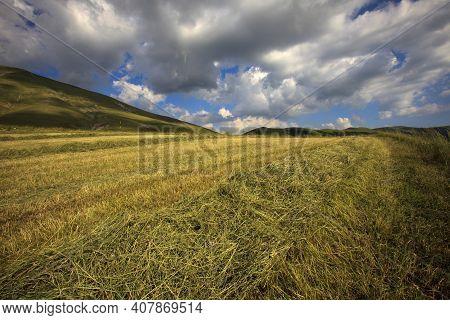 Norcia (pg), Italy - May 25, 2015: The Fields Around Castelluccio Di Norcia, Highland Of Castellucci