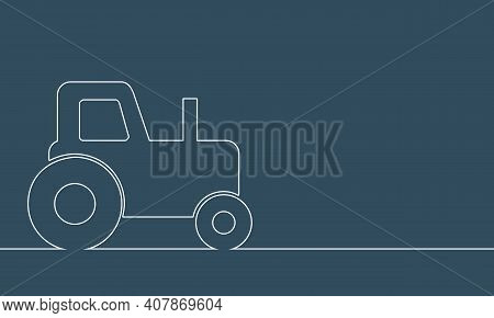 Tractor Icon. Simple Illustration Of Tractor Icon. Thin Line Style