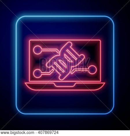 Glowing Neon Genetic Engineering Modification On Laptop Icon Isolated On Blue Background. Dna Analys