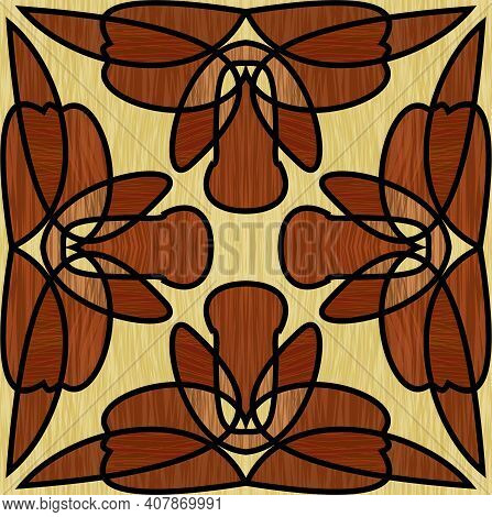 Wooden Inlay, Ornament Made Of Multicolored Wood. Square Tile. Interior Decorative Element, Furnitur