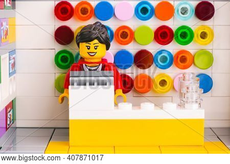 Tambov, Russian Federation - June 06, 2020 Lego Seller Minifigure Working At The Checkout At A Lego