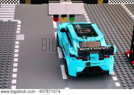 Tambov, Russian Federation - February 19, 2020 Lego Jaguar I-pace Etrophy Race Car By Lego Speed Cha