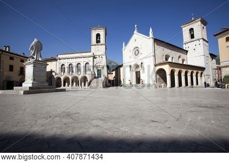Norcia (pg), Italy - May 25, 2015: Town Hall And Church Of San Benedetto, Norcia, Umbria, Italy, Eur