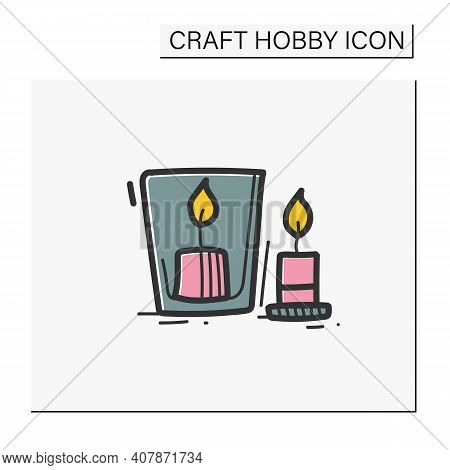 Handmade Candles Hand Draw Color Icon. Create Your Own Candles Using Dry Flowers. Enjoy The Beautifu