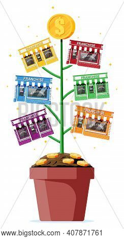 Successful Franchise Business Money Tree. Franchising Shop Building Or Commercial Property. Real Est
