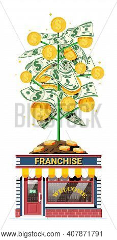 Successful Franchise Business With Money Tree. Franchising Shop Building Or Commercial Property. Rea