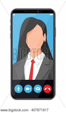 Incoming Video Call On Smartphone. Video Chat With Female Character. Photo Of Woman, Decline And Acc