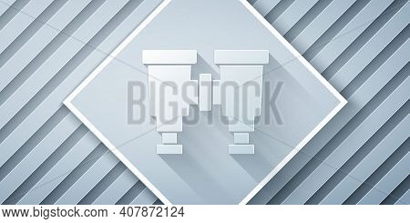 Paper Cut Binoculars Icon Isolated On Grey Background. Find Software Sign. Spy Equipment Symbol. Pap