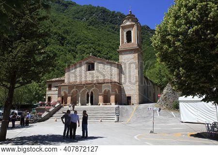 Sibillini National Park (marche), Italy - May 25, 2015: The Gola Di Ambro Sanctuary  Where The Virgi