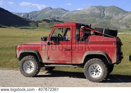 Norcia (pg), Italy - May 25, 2015: A Four Wheel Drive Near Castelluccio Di Norcia, Highland Of Caste