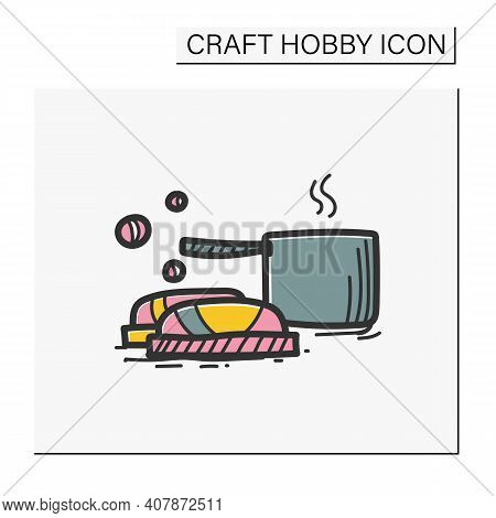Soap Making Color Hand Draw Icon. Make Soap Using Pans With Stages, Equipment And Ingredients. Handm
