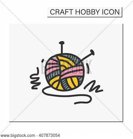 Knitting Hand Draw Color Icon. Needle Pins And Wool Clew Ball. Creative Hobby. Handmade Knitting Con