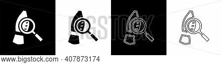 Set Magnifying Glass With Footsteps Icon Isolated On Black And White Background. Detective Is Invest