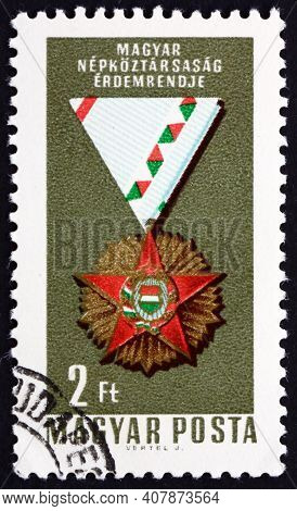 Hungary - Circa 1966: A Stamp Printed In Hungary Shows Order Of Merit, Decoration, Circa 1966