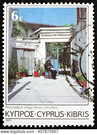 Cyprus - Circa 1985: A Stamp Printed In Cyprus Shows Village Street, Ormodhos, Circa 1985