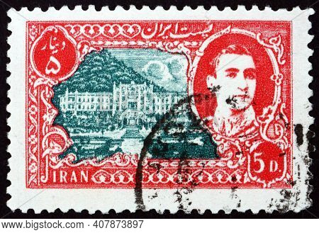 Iran - Circa 1949: A Stamp Printed In Iran Shows Ramsar-hotel, Caspian Sea, And Mohammad Reza Shah P