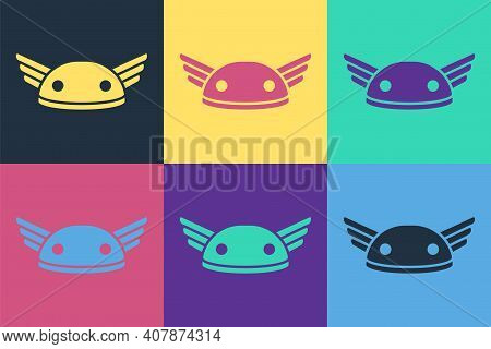Pop Art Helmet With Wings Icon Isolated On Color Background. Greek God Hermes. Vector