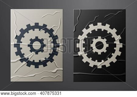 White Bicycle Cassette Mountain Bike Icon Isolated On Crumpled Paper Background. Rear Bicycle Sprock