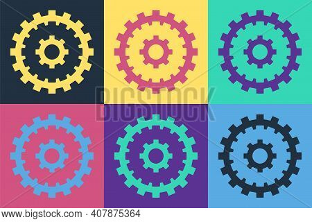 Pop Art Bicycle Cassette Mountain Bike Icon Isolated On Color Background. Rear Bicycle Sprocket. Cha