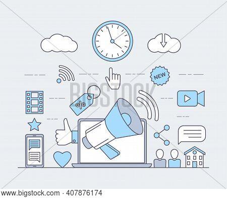 Social Media And Internet Cartoon Outline Concept. Online Communication, Video Production Concept. L
