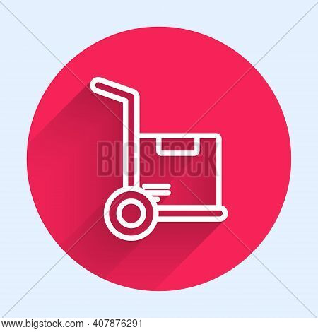 White Line Hand Truck And Boxes Icon Isolated With Long Shadow. Dolly Symbol. Red Circle Button. Vec