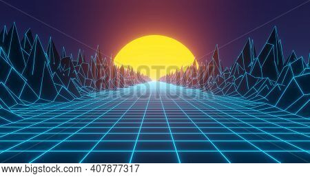 Retro Background In 80s And 90s Style. Seamless Cyberpunk Pattern Of Movement Towards The Sun. Neon
