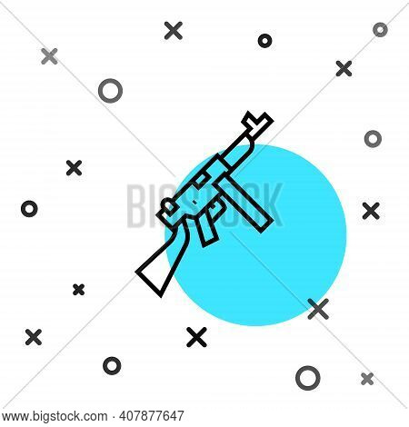 Black Line Thompson Tommy Submachine Gun Icon Isolated On White Background. American Submachine Gun.
