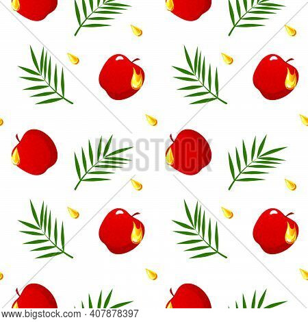 Seamless Pattern With Apples, Palm Leaves And Hone Drop On White Background. Pattern For Rosh Hashan
