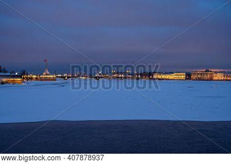 Petropavlovsk Fortress In Winter. Wonderful Evening Picture